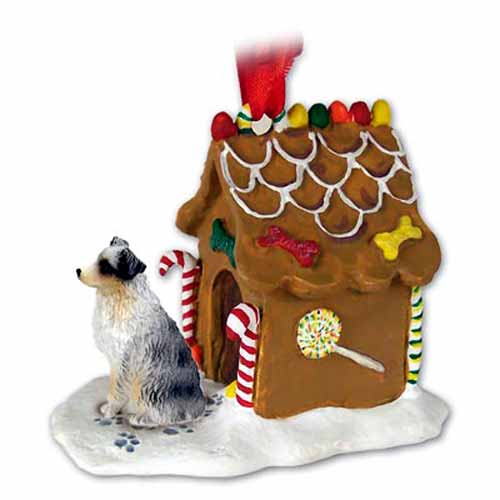 Australian Shepherd Gingerbread House Christmas Ornament Blue Docked Tail