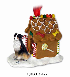Australian Shepherd Gingerbread House Christmas Ornament Tricolor