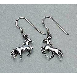 Horse Earrings Galloping Sterling Silver
