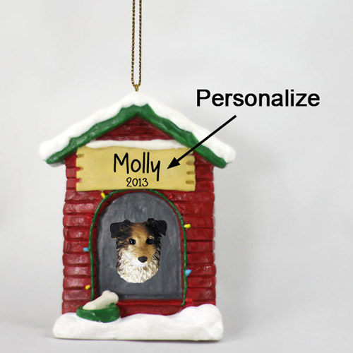 Australian Shepherd Personalized Dog House Christmas Ornament Blue
