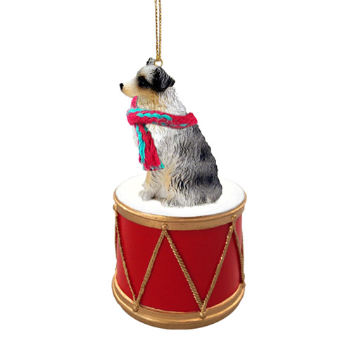 Little Drummer Australian Shepherd Christmas Ornament