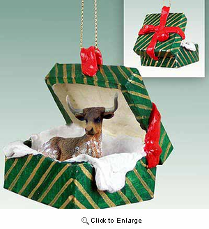Long Horn Steer Gift Box Christmas Ornament
