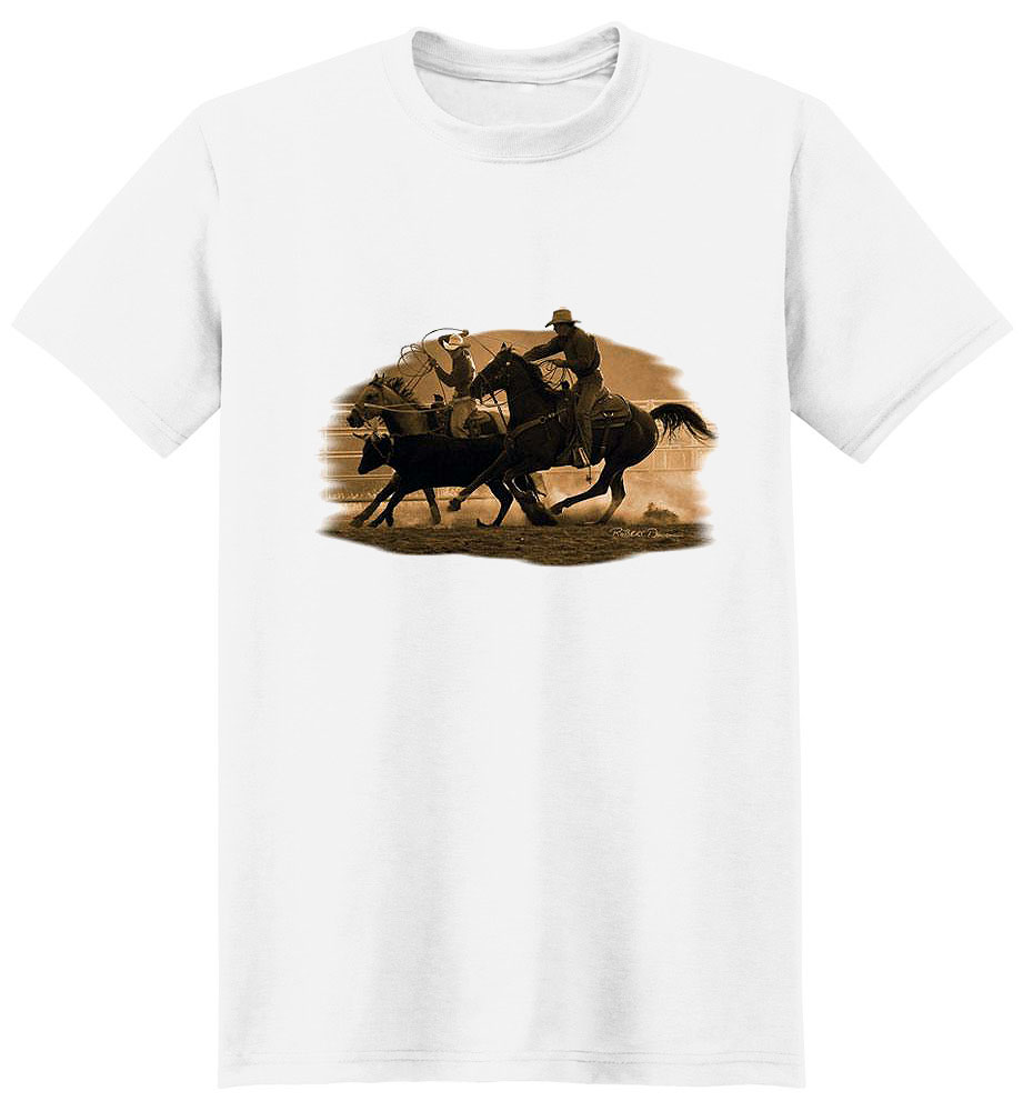 Horse T Shirt Roping On The Ranch