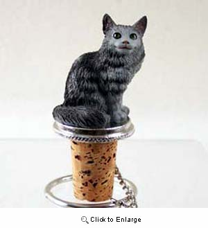 Maine Coon Cat Bottle Stopper (Silver)