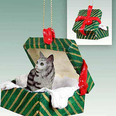 Maine Coon Cat Gift Box Christmas Ornament Silver