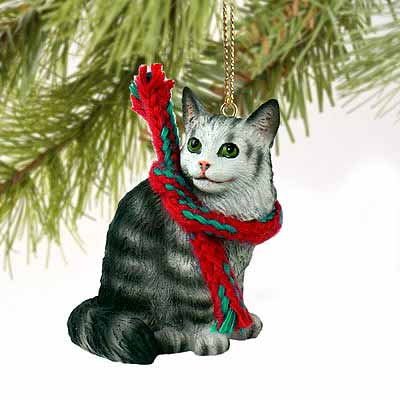 Maine Coon Cat Tiny One Christmas Ornament Silver