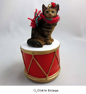 Little Drummer Maine Coon Cat Christmas Ornament