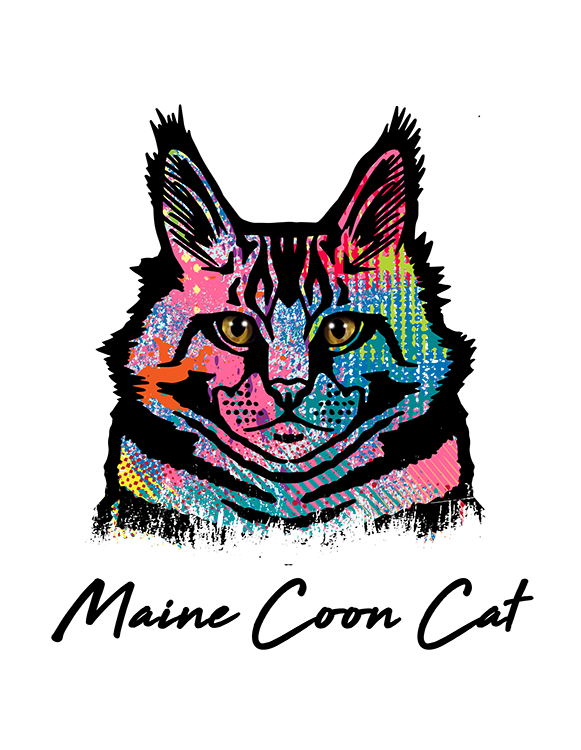 Maine Coon Cat T Shirt Colorful Abstract