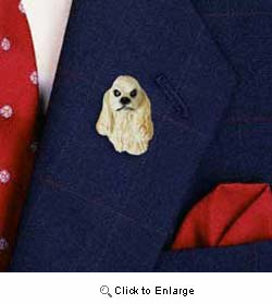 Cocker Spaniel Pin Hand Painted Resin (Blonde)