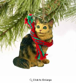 Maine Coon Cat Tiny One Christmas Ornament Brown