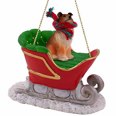 Collie Sleigh Ride Christmas Ornament Sable