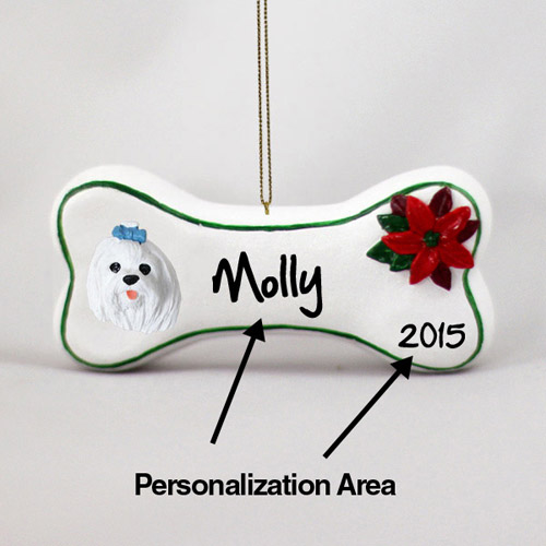 Maltese Personalized Dog Bone Christmas Ornament