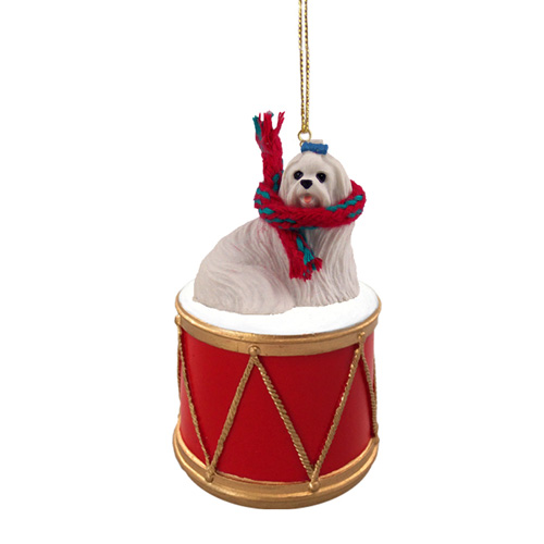Little Drummer Maltese Christmas Ornament