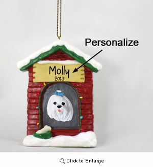 Maltese Personalized Dog House Christmas Ornament
