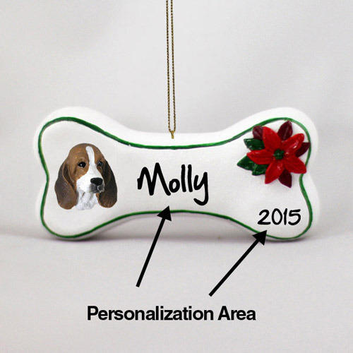 Basset Hound Personalized Dog Bone Christmas Ornament