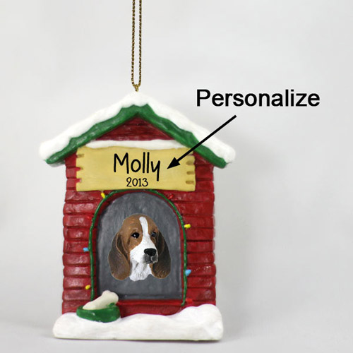 Basset Hound Personalized Dog House Christmas Ornament