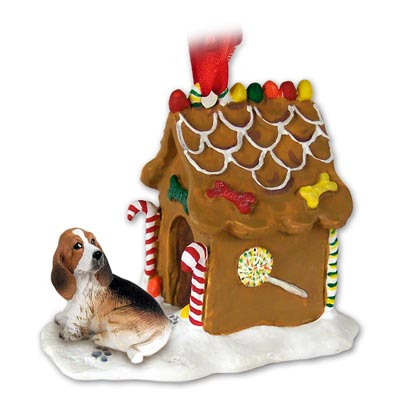 Basset Hound Gingerbread House Christmas Ornament