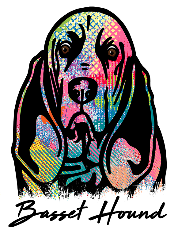 Basset Hound T Shirt Colorful Abstract