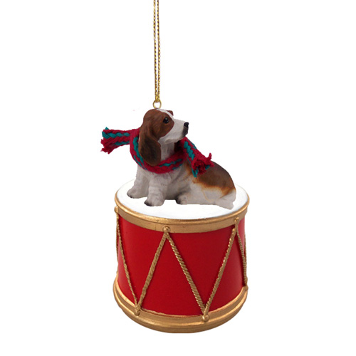 Little Drummer Basset Hound Christmas Ornament