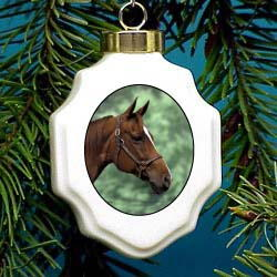 Quarter Horse Christmas Ornament Porcelain