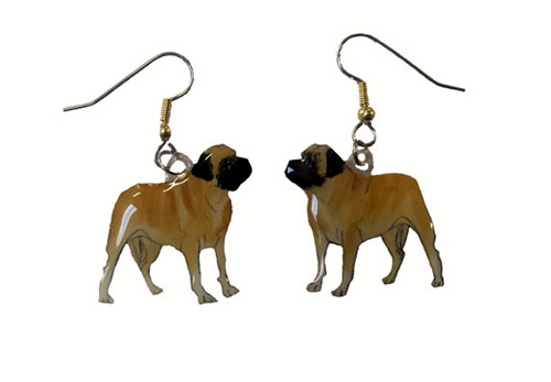 Mastiff Earrings Hand Painted Acrylic