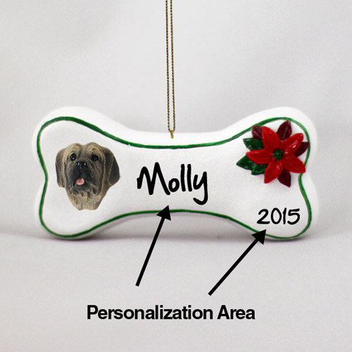 Mastiff Personalized Dog Bone Christmas Ornament