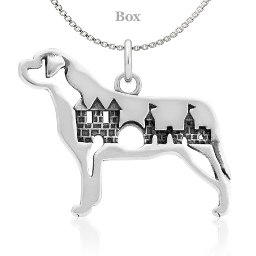 Sterling Silver Mastiff W/Castle Necklace