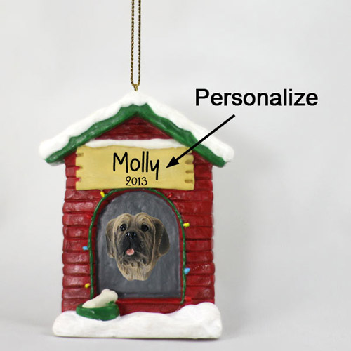 Mastiff Personalized Dog House Christmas Ornament