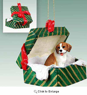 Beagle Gift Box Christmas Ornament
