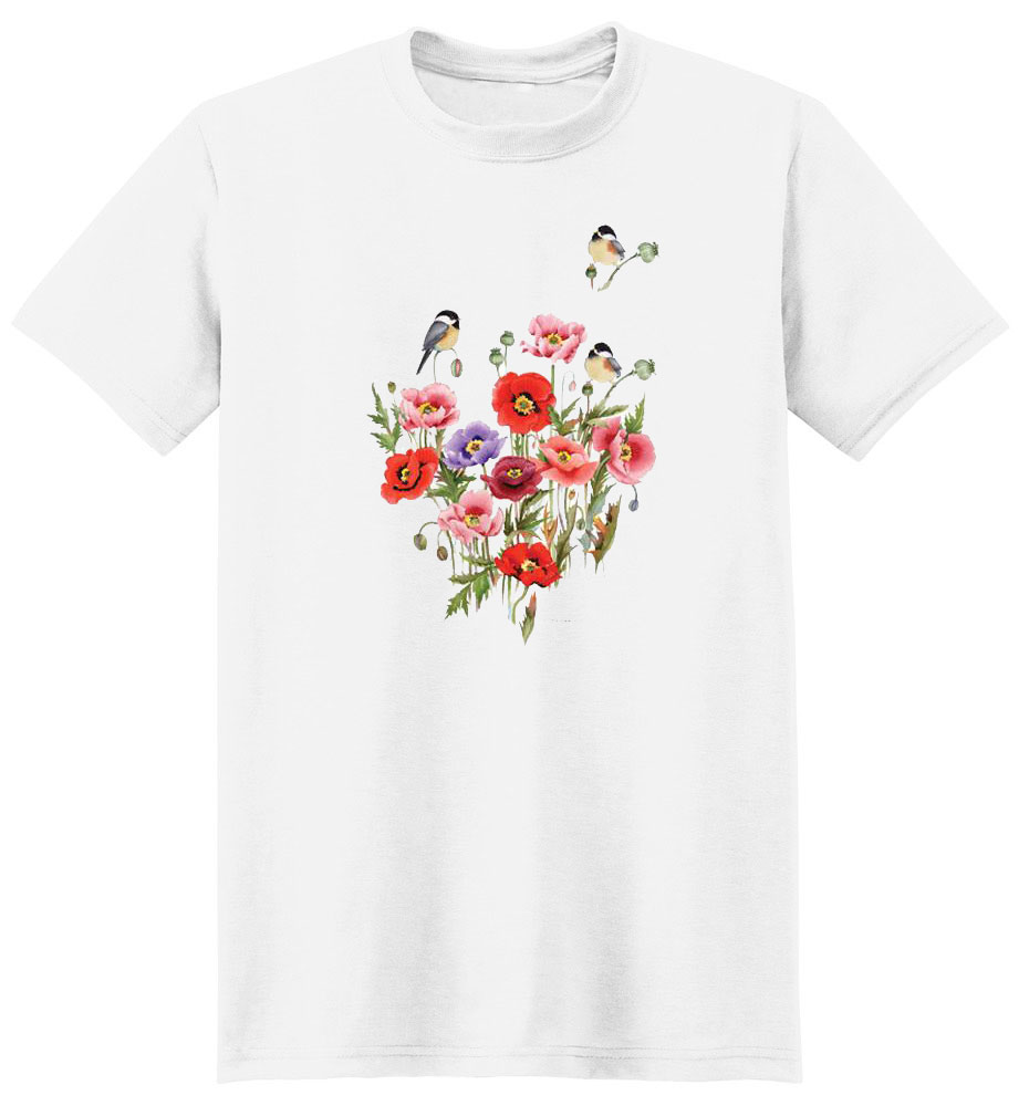 Chickadee T Shirt Floral With Crest