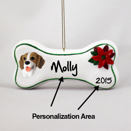 Beagle Personalized Dog Bone Christmas Ornament
