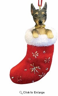 Miniature Pinscher Christmas Stocking Ornament
