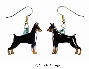 Miniature Pinscher Earrings Cropped Hand Painted Acrylic