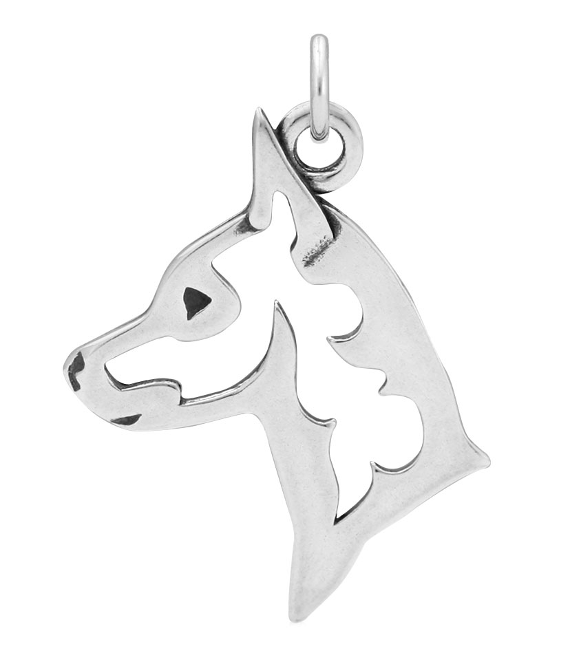 Sterling Silver Miniature Pinscher Head Necklace