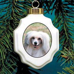 Chinese Crested Christmas Ornament Porcelain