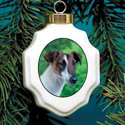 Fox Terrier Smooth Christmas Ornament Porcelain