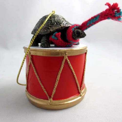 Little Drummer Turtle Christmas Ornament