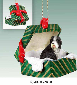 Bearded Collie Gift Box Christmas Ornament