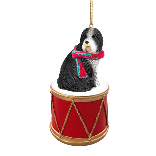 Little Drummer Bearded Collie Christmas Ornament