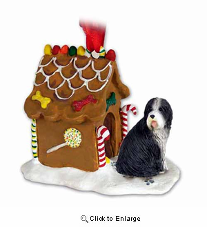 Bearded Collie Gingerbread House Christmas Ornament
