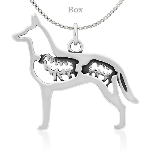 Sterling Silver Belgian Malinois W/Sheep Necklace