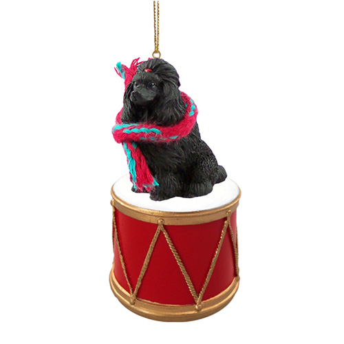 Little Drummer Poodle Black Christmas Ornament