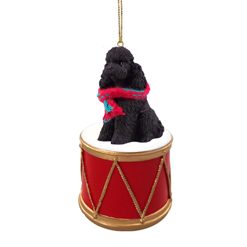 Little Drummer Poodle Black Sport Cut Christmas Ornament
