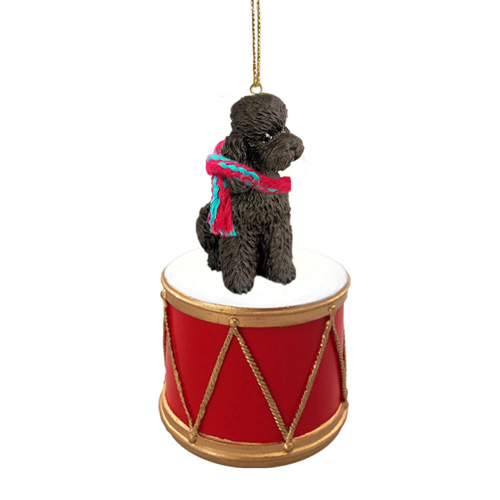 Little Drummer Poodle Chocolate Sport Cut Christmas Ornament