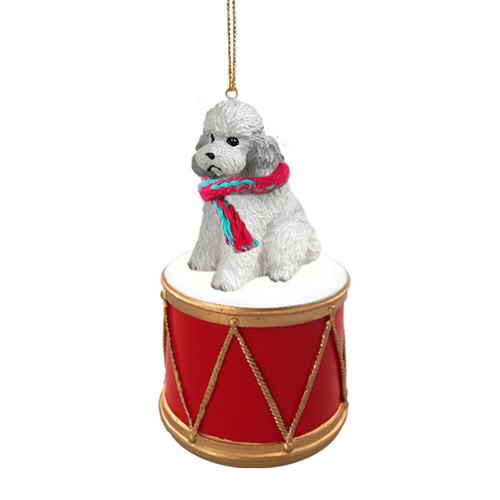 Little Drummer Poodle Gray Christmas Ornament
