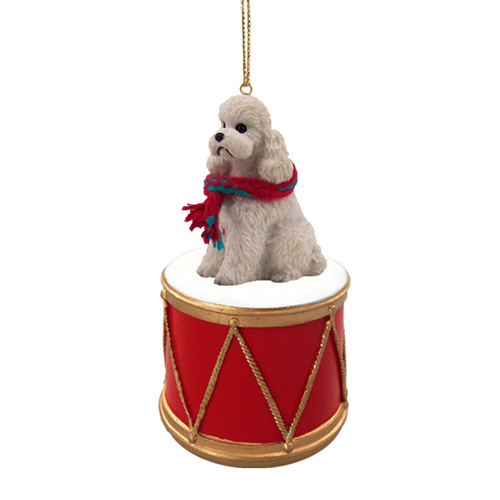 Little Drummer Poodle White Christmas Ornament