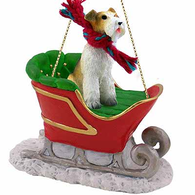 Wire Fox Terrier Sleigh Ride Christmas Ornament Red