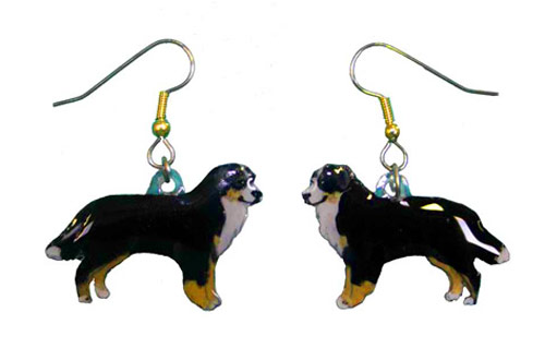 Bernese Mountain Dog Earrings Hand Painted Acrylic
