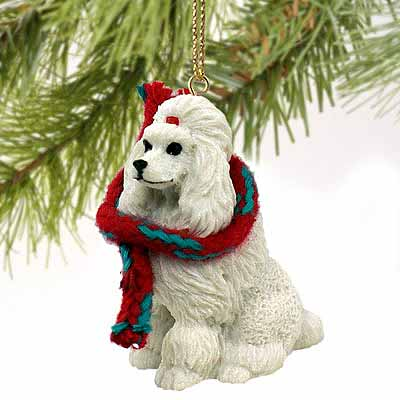 Poodle Tiny One Christmas Ornament White
