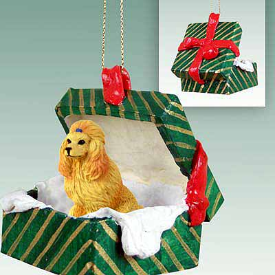 Poodle Gift Box Christmas Ornament Apricot